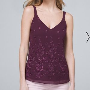 NWT WHBM Empire Plum Embroidered Camisole